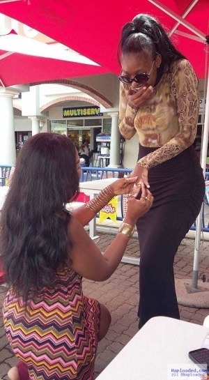 Beautiful South African OAP Ingrid Proposes to Her Lesbian Partner in Public (Photo)